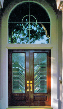 Custom glass beveling all hand beveleled one inch at a time set into arched double doors near Rice University in Houston. & ArtGlassByWells | Serving Houston since 1962 - DOORS pezcame.com