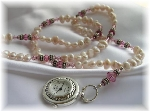 Freshwater Pearl and Swarovski Crystal Watch Necklace