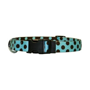 Blue with Brown Polka Dot Collar