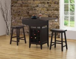 3 Piece Bar Table - Bar Table Sets - Drop Leaf Table and Chairs - Discount Online Furniture Stores