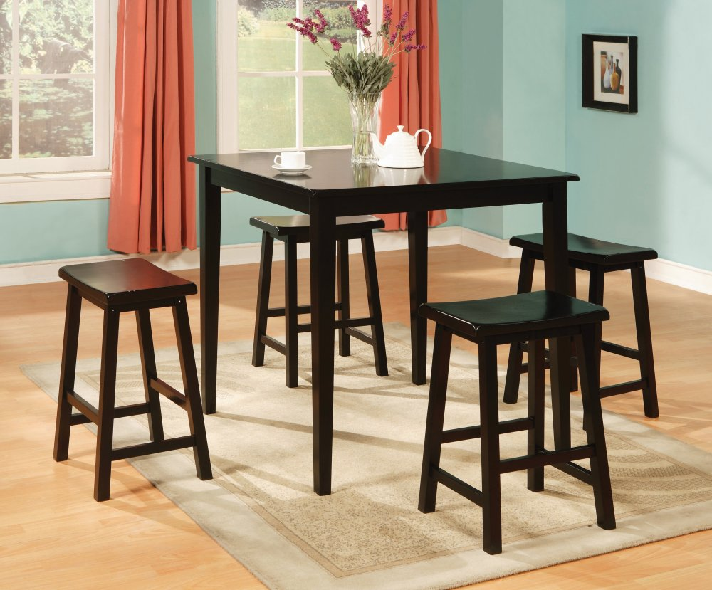 Black 5 pc pub style counter height set for Pub style dining sets