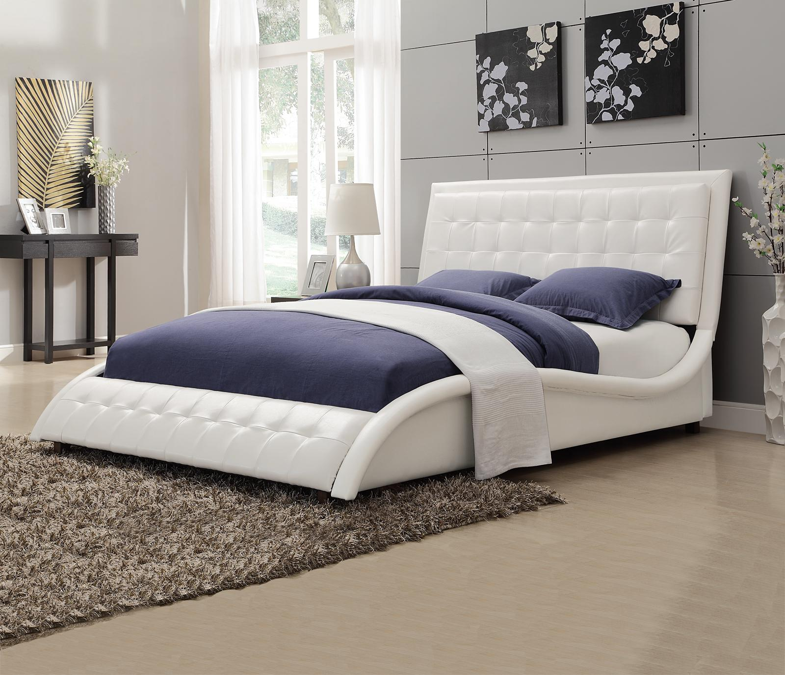 Tulisa White Leather Wave Shaped Queen Bed