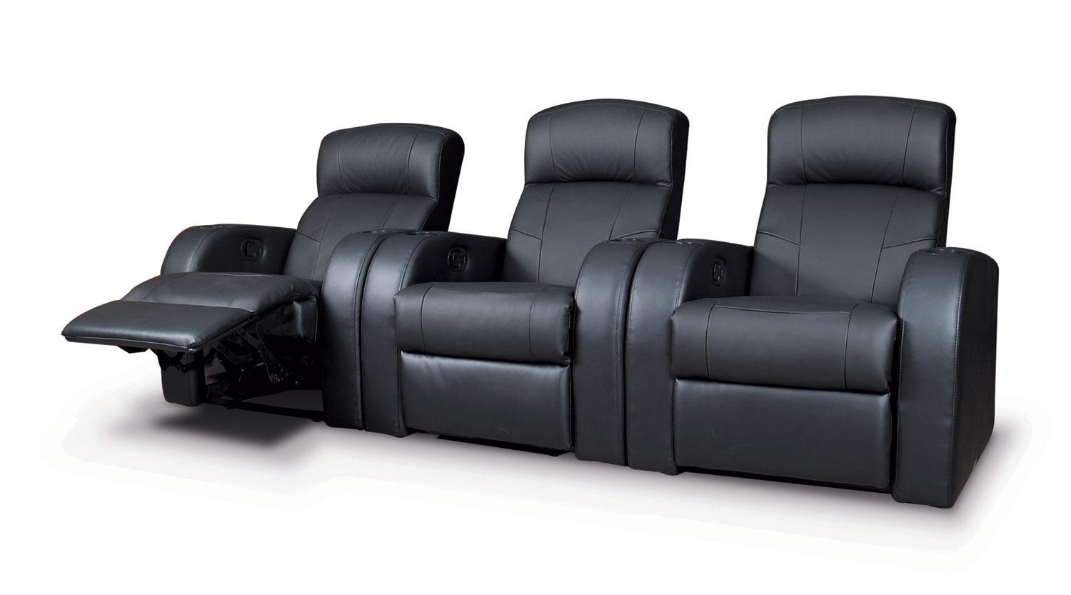 Cyrus 3 Seat Leather Theater Seating Set