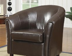 Barrel Back Chair - Accent Chairs for Sale - Brown Accent Chair - Leather Accent Chair - Online Furniture Store - Discount Online Furniture