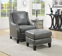 grey leather accent chair with ottoman