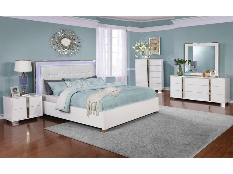 rannoli white bed with blue led touch lighting headboard