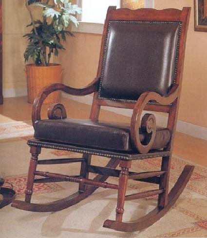 Traditional Leather Rocking Chair