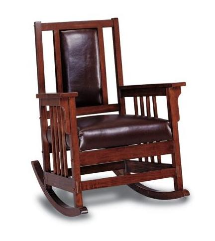 Leather Mission Style Rocking Chair